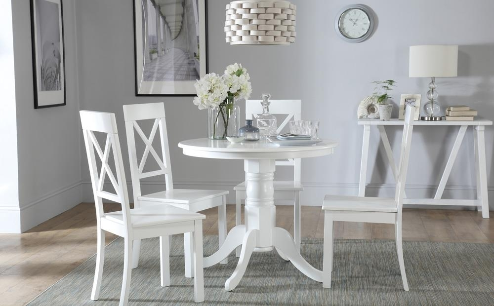 Kingston Round White Dining Table With 4 Kendal Chairs Only £ (Image 10 of 25)