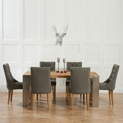 Kingston Solid Oak Extending Dining Table With 6 Primly Grey Chairs throughout Dining Tables Grey Chairs
