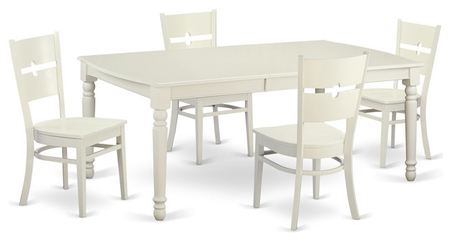 Kirsten Rectangular Dining Table Set, White - Traditional - Dining regarding Kirsten 5 Piece Dining Sets