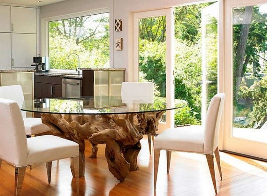 Kitchen Dining Tables: Oak Root Leg Round Glass Dining Table Small Intended For Round Glass Dining Tables With Oak Legs (View 15 of 25)