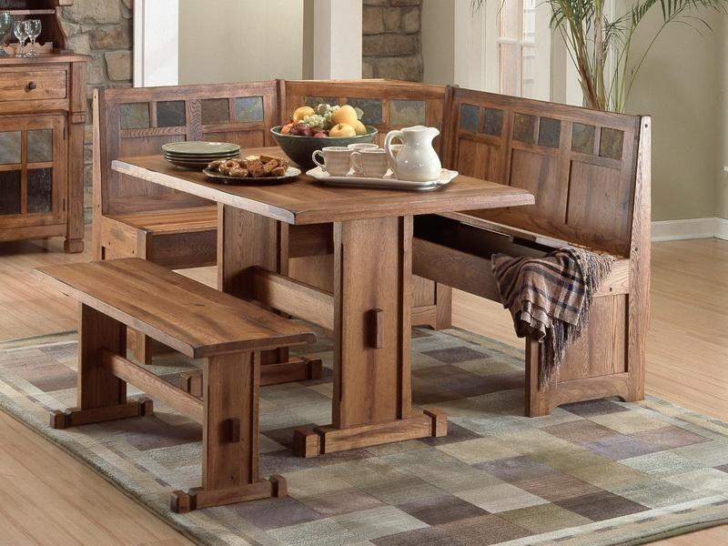 Kitchen Small Kitchen Table And Bench Dining Table In Corner Within Small Dining Tables And Bench Sets (Image 17 of 25)