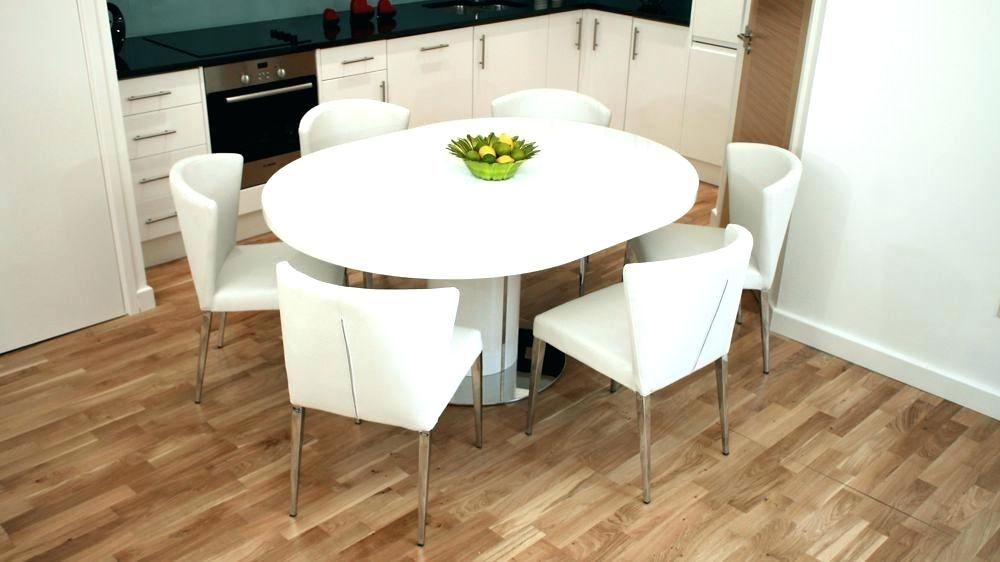 Kitchen Table Round 6 Chairs Modern White Dining Gloss Extending And throughout Dining Extending Tables and Chairs