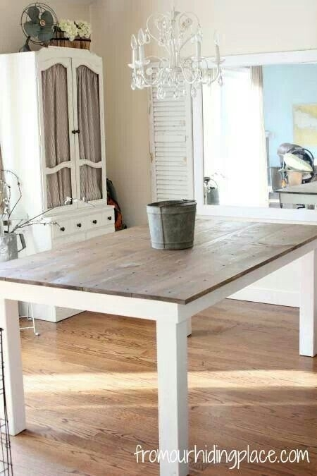 Kitchen Table Wood Top With White Legs (Image 15 of 25)