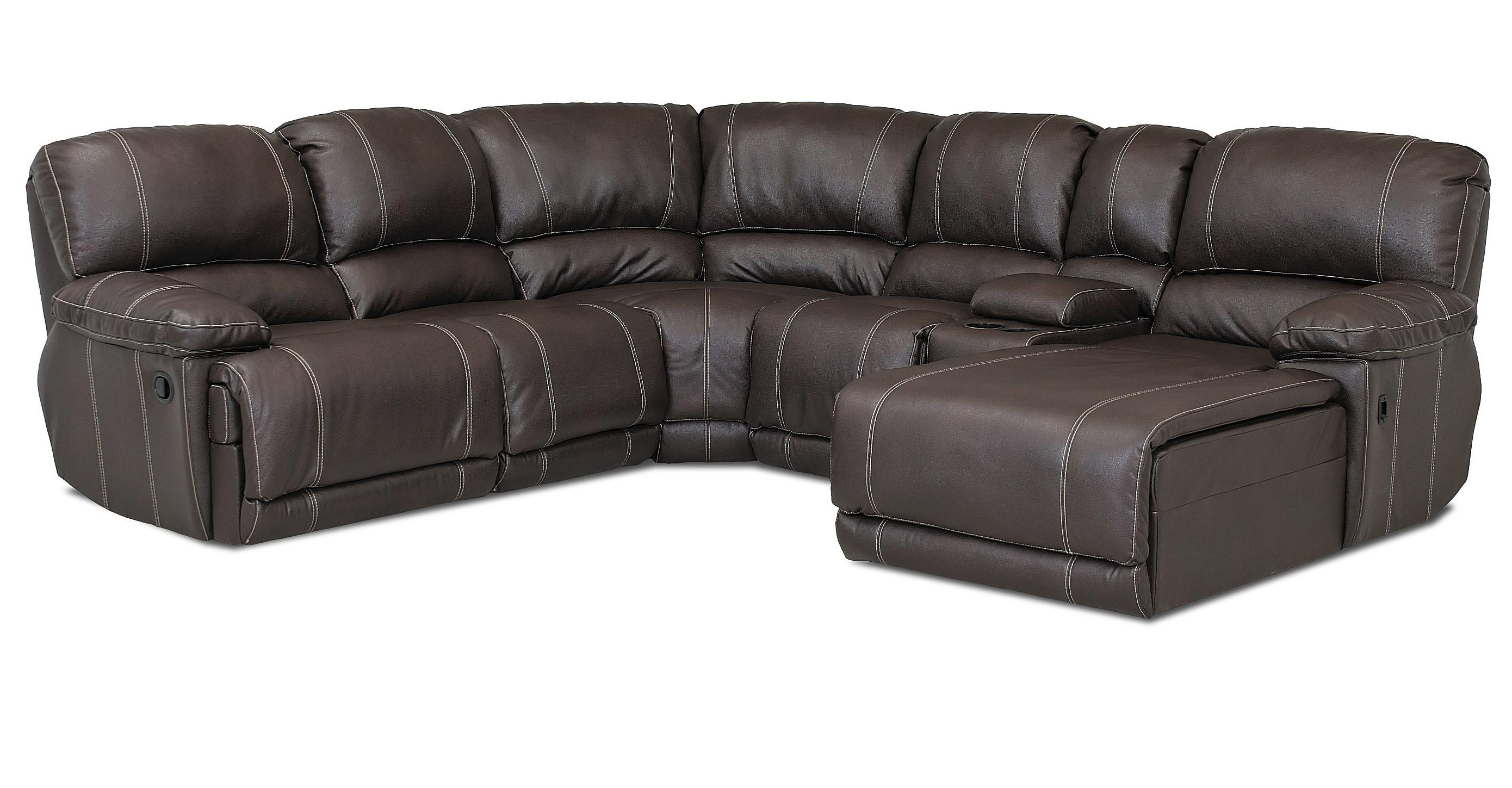 Klaussner Derek Casual Reclining Sectional Sofa With Chaise – Ahfa In Norfolk Chocolate 6 Piece Sectionals (Image 12 of 25)