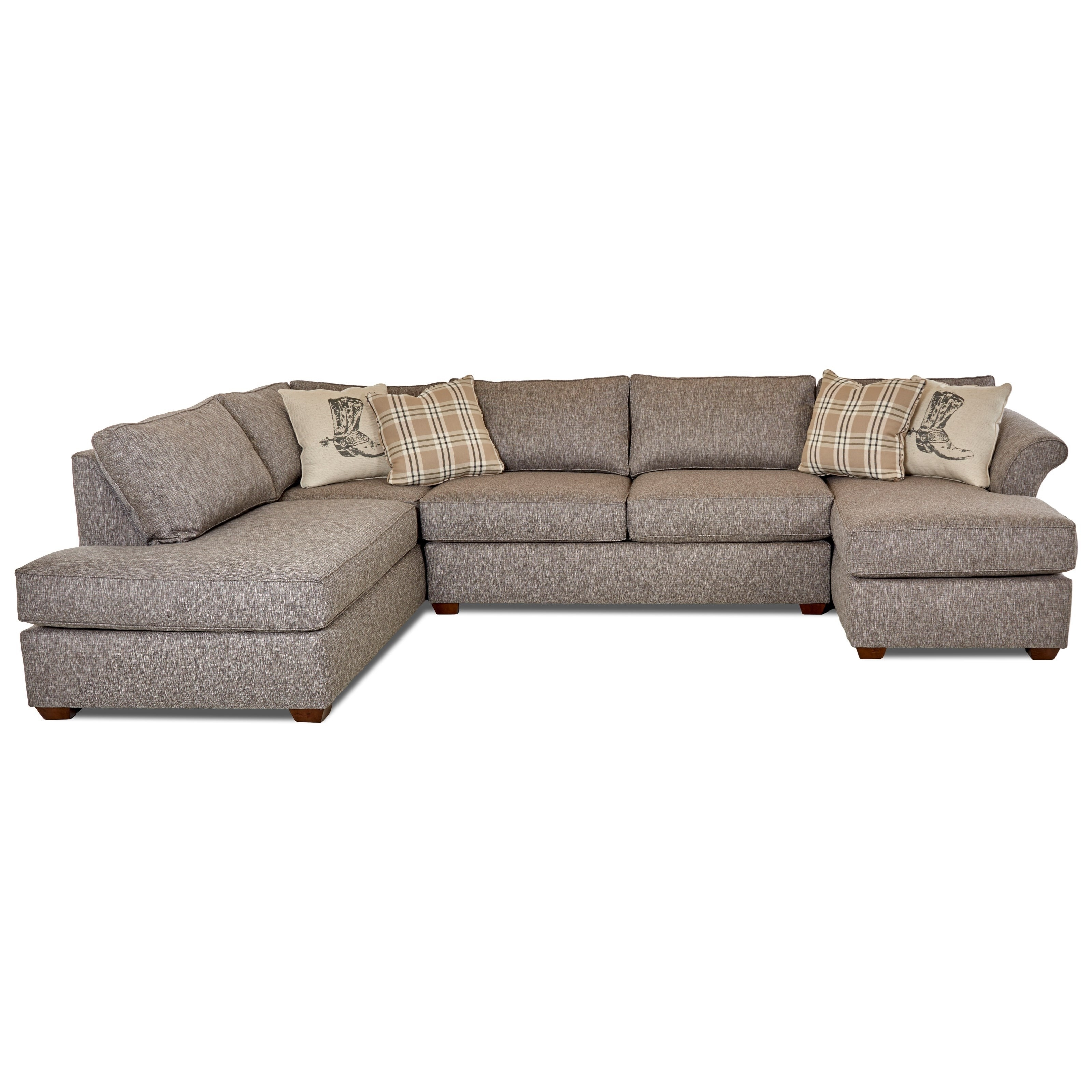 Klaussner Jaxon Three Piece Sectional Sofa With Flared Arms And Laf With Sierra Foam Ii 3 Piece Sectionals (Image 19 of 25)