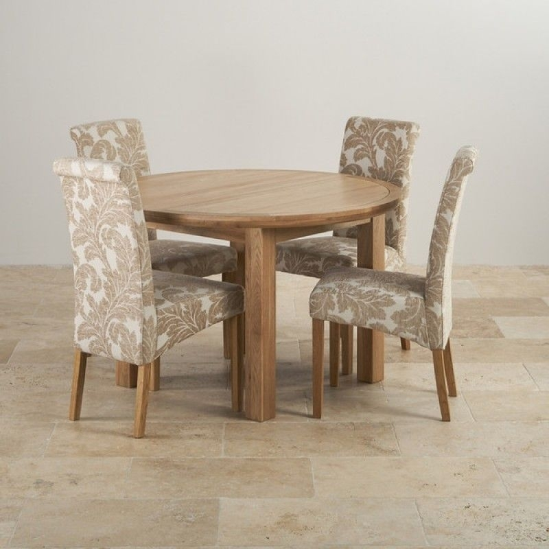 Knightsbridge Natural Oak Dining Set – 4Ft Round Extending Table & 4 Throughout Round Extending Oak Dining Tables And Chairs (Image 16 of 25)