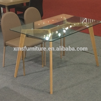 Knock Down Tempered Glass Top Wooden/wood Like Legs Dining Table In Glass Dining Tables With Wooden Legs (Image 17 of 25)
