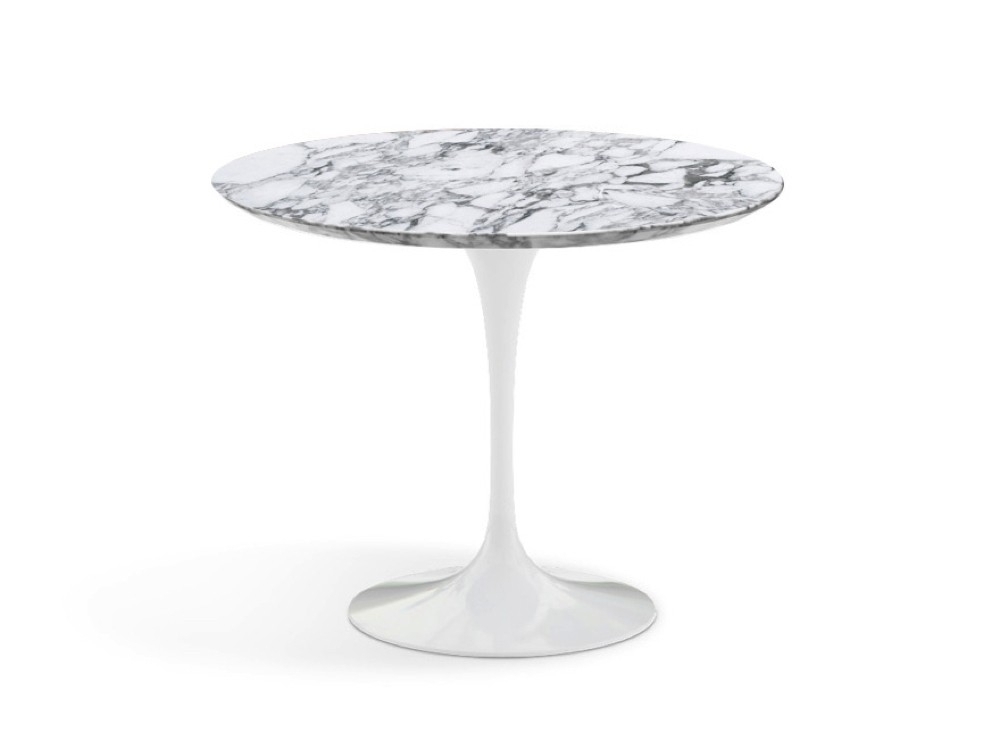Knoll Saarinen Tulip Round Dining Table With White Base And Throughout White Circular Dining Tables (Image 16 of 25)