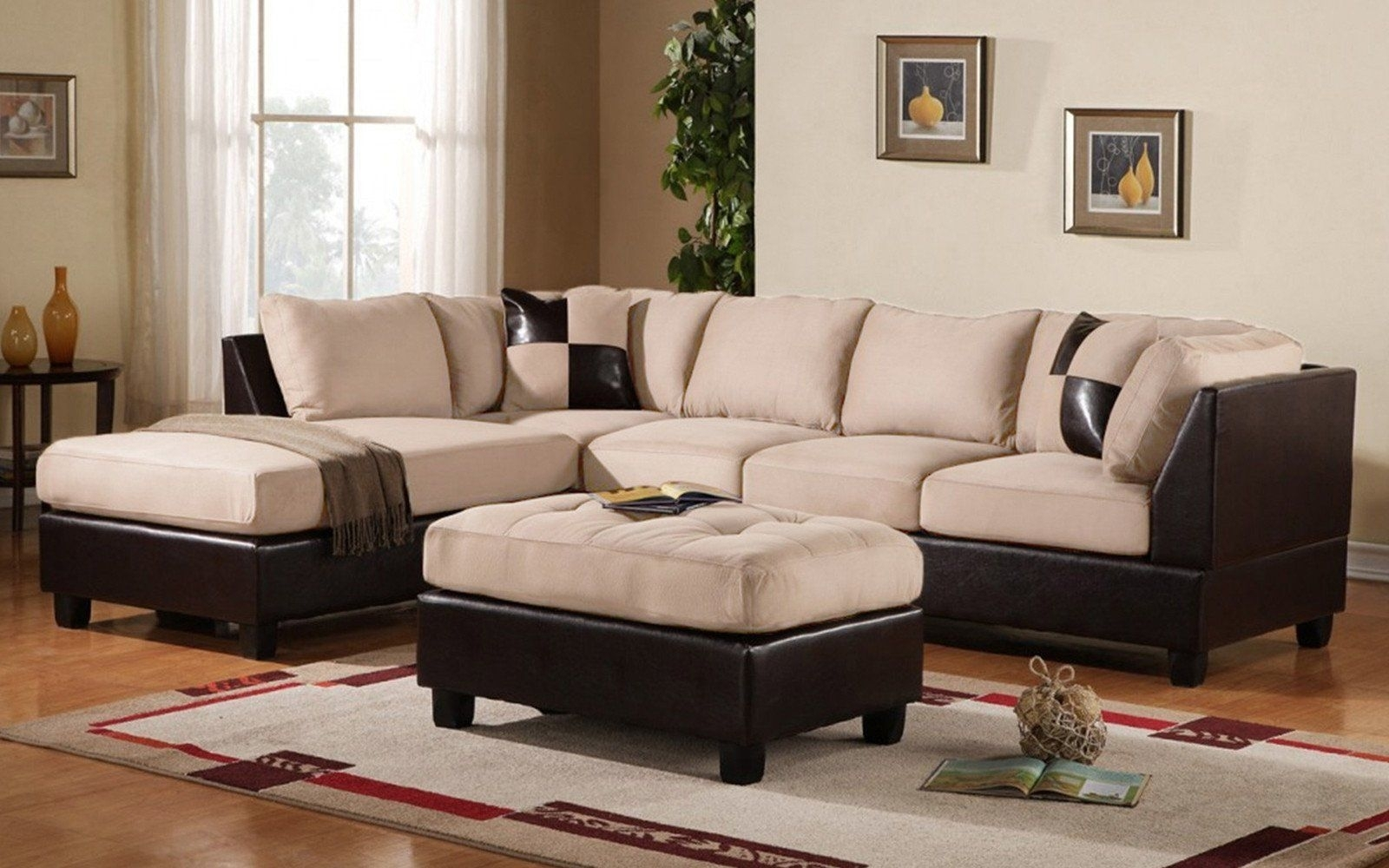 Koko Classic (3) Piece Microfiber And Faux Leather Sectional With Intended For Burton Leather 3 Piece Sectionals With Ottoman (Image 14 of 25)