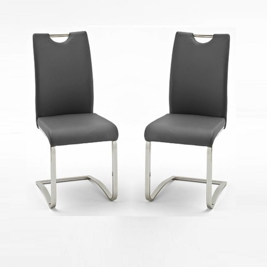 Koln Dining Chair In Grey Faux Leather In A Pair 26660 Intended For Grey Leather Dining Chairs (Image 14 of 25)