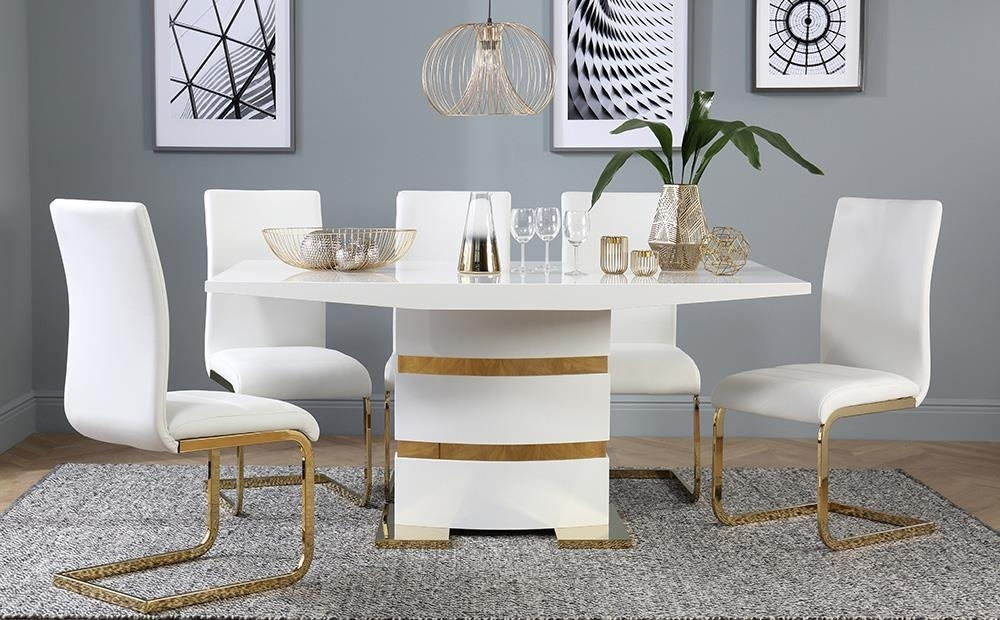 Komoro White High Gloss And Gold Dining Table With 6 Perth Within Regarding Perth White Dining Chairs (View 24 of 25)