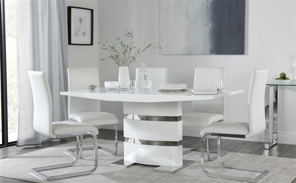 Komoro White High Gloss Dining Table 4 6 Perth White Chairs | Ebay With Regard To Perth White Dining Chairs (Image 11 of 25)