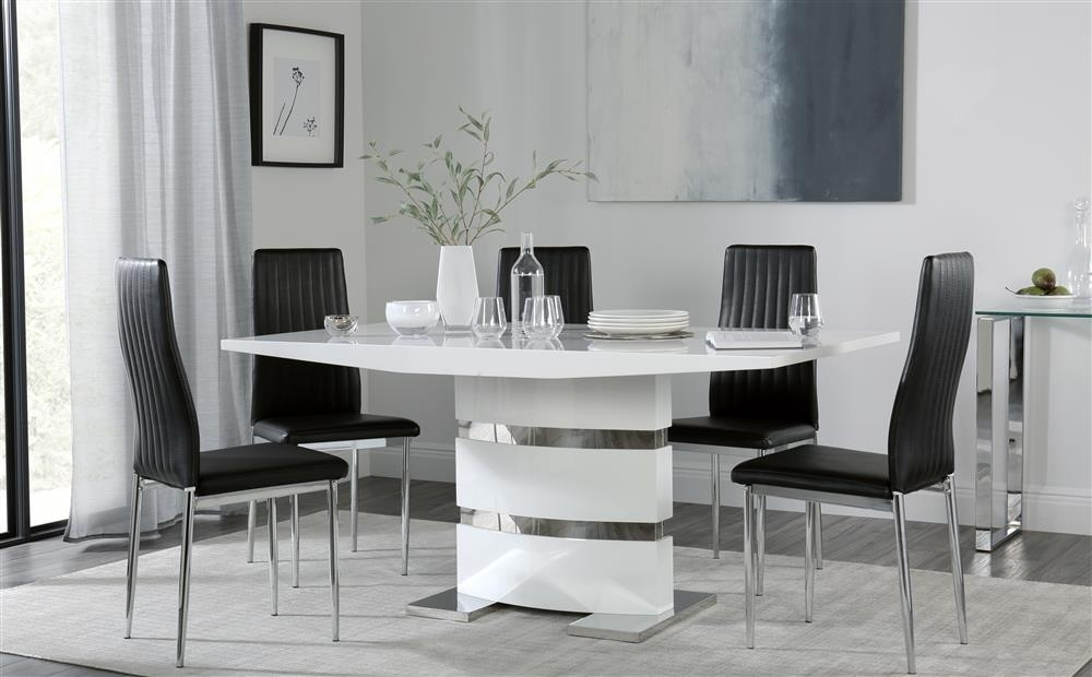 Komoro White High Gloss Dining Table With 6 Leon Black Chairs Only Inside Leon Dining Tables (View 5 of 25)