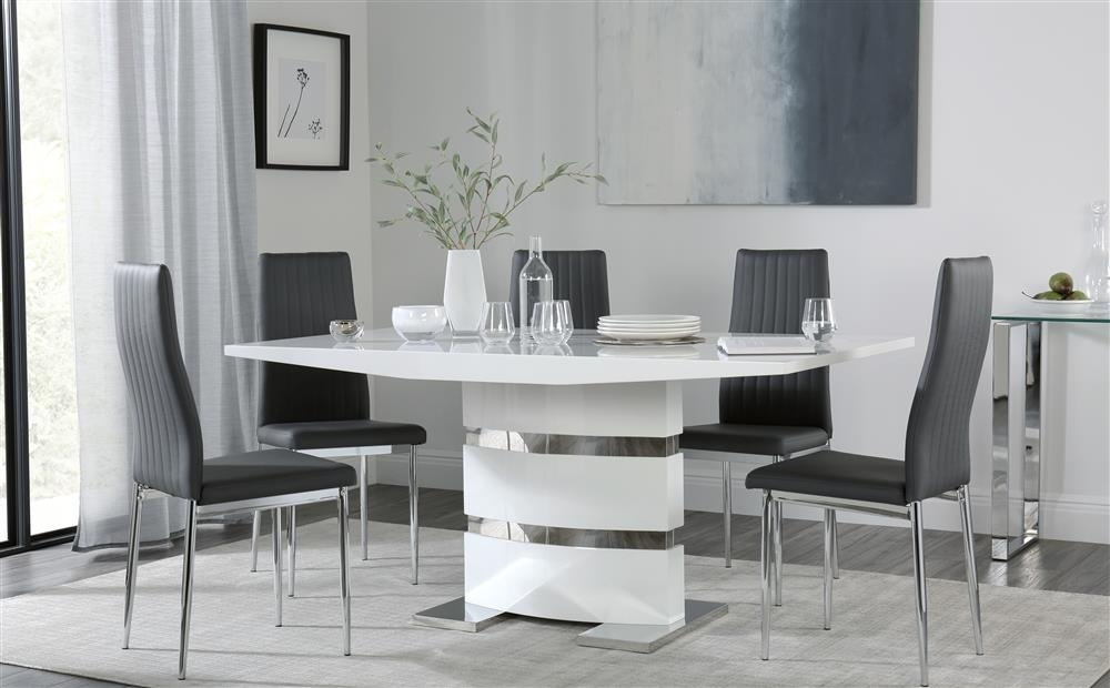 Komoro White High Gloss Dining Table With 6 Leon Grey Chairs Only Pertaining To High Gloss Dining Room Furniture (Image 16 of 25)