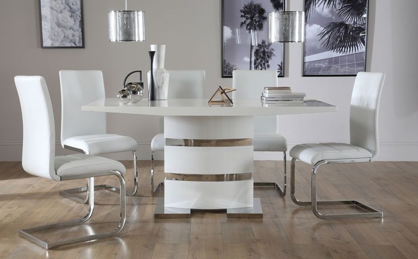 Komoro White High Gloss Dining Table - With 6 Perth White Chairs pertaining to Perth White Dining Chairs