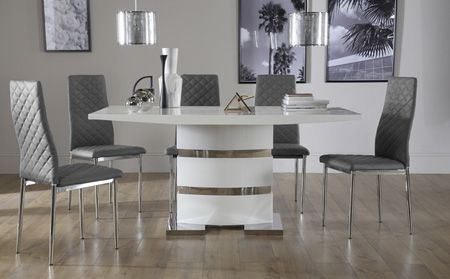 Komoro White High Gloss Dining Table With 6 Renzo Grey Chairs for High Gloss Dining Tables and Chairs
