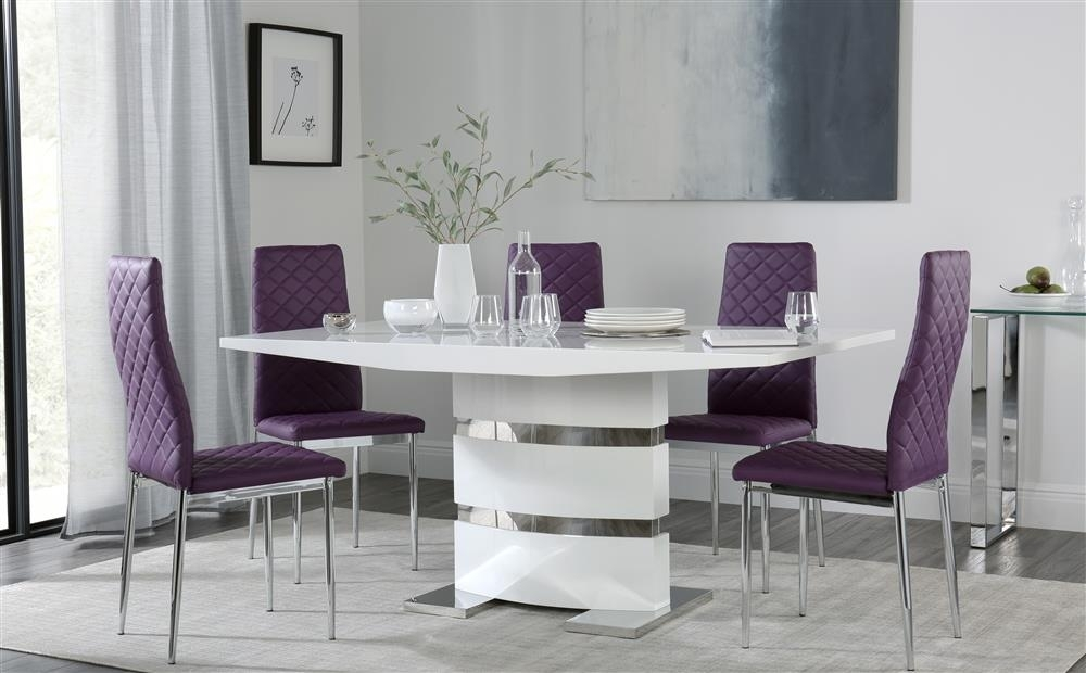 Komoro White High Gloss Dining Table With 6 Renzo Purple Chairs Only Regarding Dining Tables And Purple Chairs (Image 10 of 25)