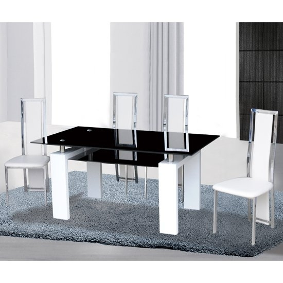 Kontrast Black Glass Dining Table In Gloss White 6 Deluxe with Metro Dining Tables