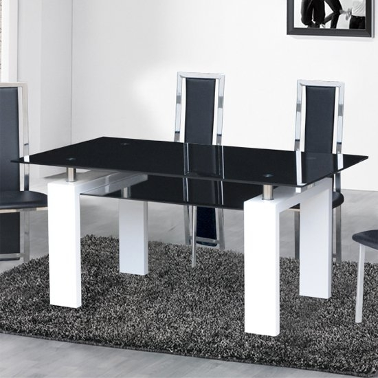 Kontrast Dining Table In Black Glass With White Gloss Legs Inside White Gloss And Glass Dining Tables (Image 12 of 25)