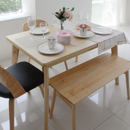 Korean Pure Solid Wood Dining Table Turntable Japanese Style Dining In Birch Dining Tables (Image 16 of 25)