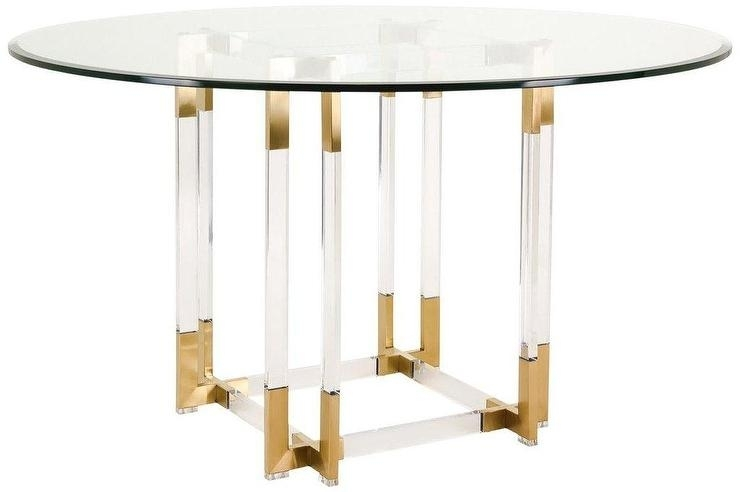 Koryn Round Glass Gold Acrylic Dining Table With Round Acrylic Dining Tables (Image 15 of 25)