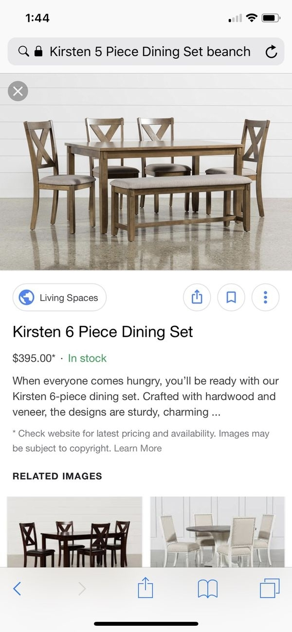 Kristen Dining Table And Bench For Sale In San Jose, Ca – Offerup With Kirsten 5 Piece Dining Sets (Image 18 of 25)