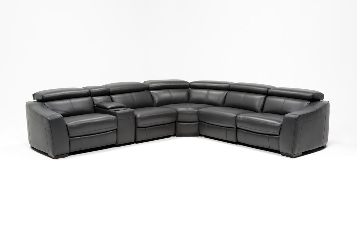 Kristen Slate Grey 6 Piece Power Reclining Sectional | Living Spaces In Kristen Silver Grey 6 Piece Power Reclining Sectionals (Image 9 of 25)
