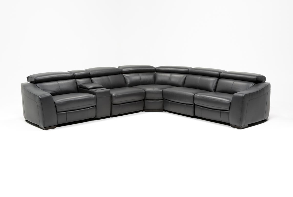 Kristen Slate Grey 6 Piece Power Reclining Sectional | Living Spaces Throughout Clyde Grey Leather 3 Piece Power Reclining Sectionals With Pwr Hdrst & Usb (Image 19 of 25)