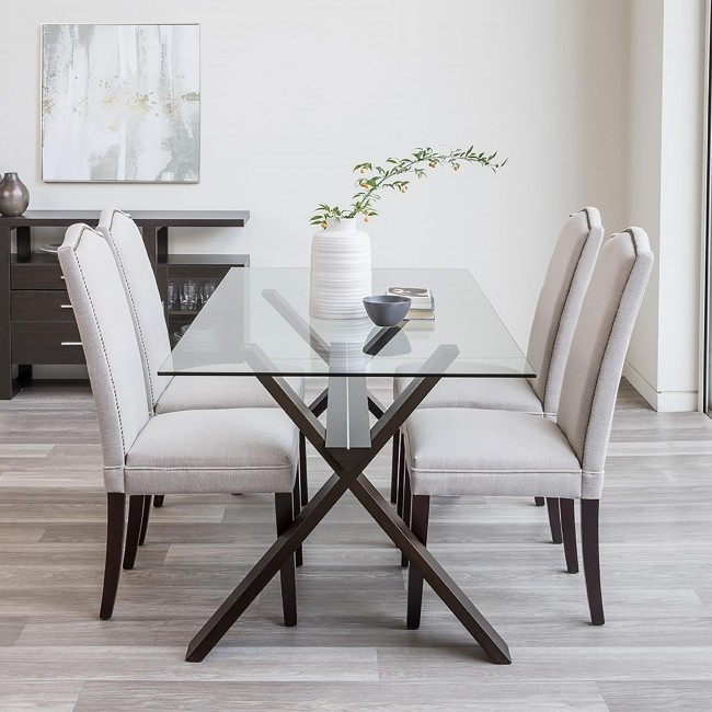 Ksp Kona 'rectangle' Glass Dining Table (Walnut) | Kitchen Stuff Plus With Regard To Glass Dining Tables (Image 13 of 25)