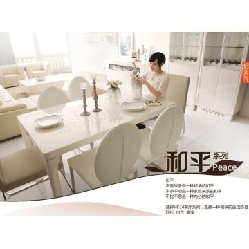 Kt14, China Tempered Glass In Cream Color And Mdf Dining Table With With Regard To Cream High Gloss Dining Tables (View 3 of 25)