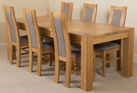 Kuba Large Dining Set 6 Stanford Chairs | Oak Furniture King Within Solid Oak Dining Tables And 6 Chairs (View 5 of 25)