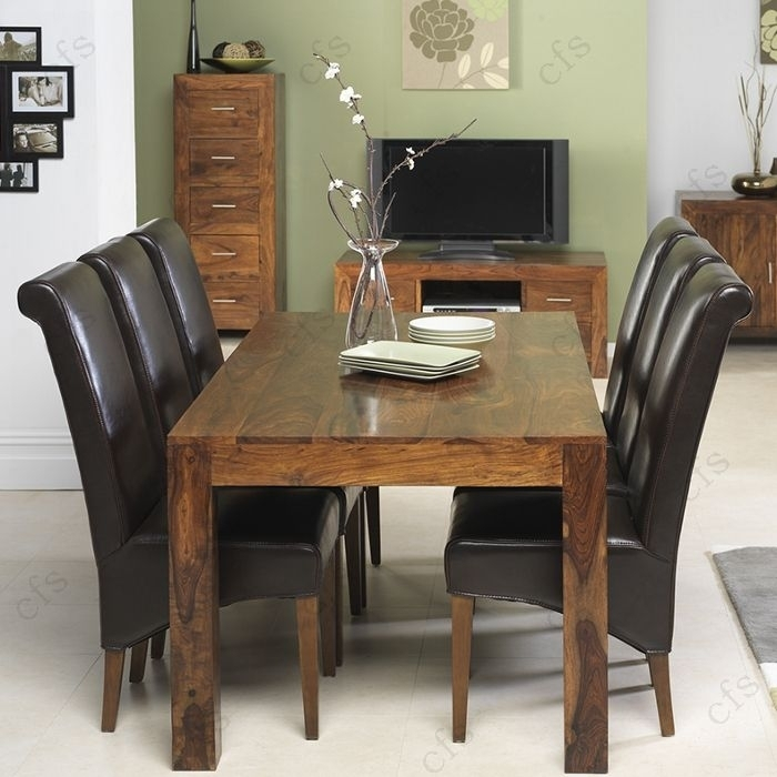 Kuba Sheesham Large Dining Set With 6 Brown Leather Chairs For Sheesham Dining Tables And Chairs (Image 9 of 25)