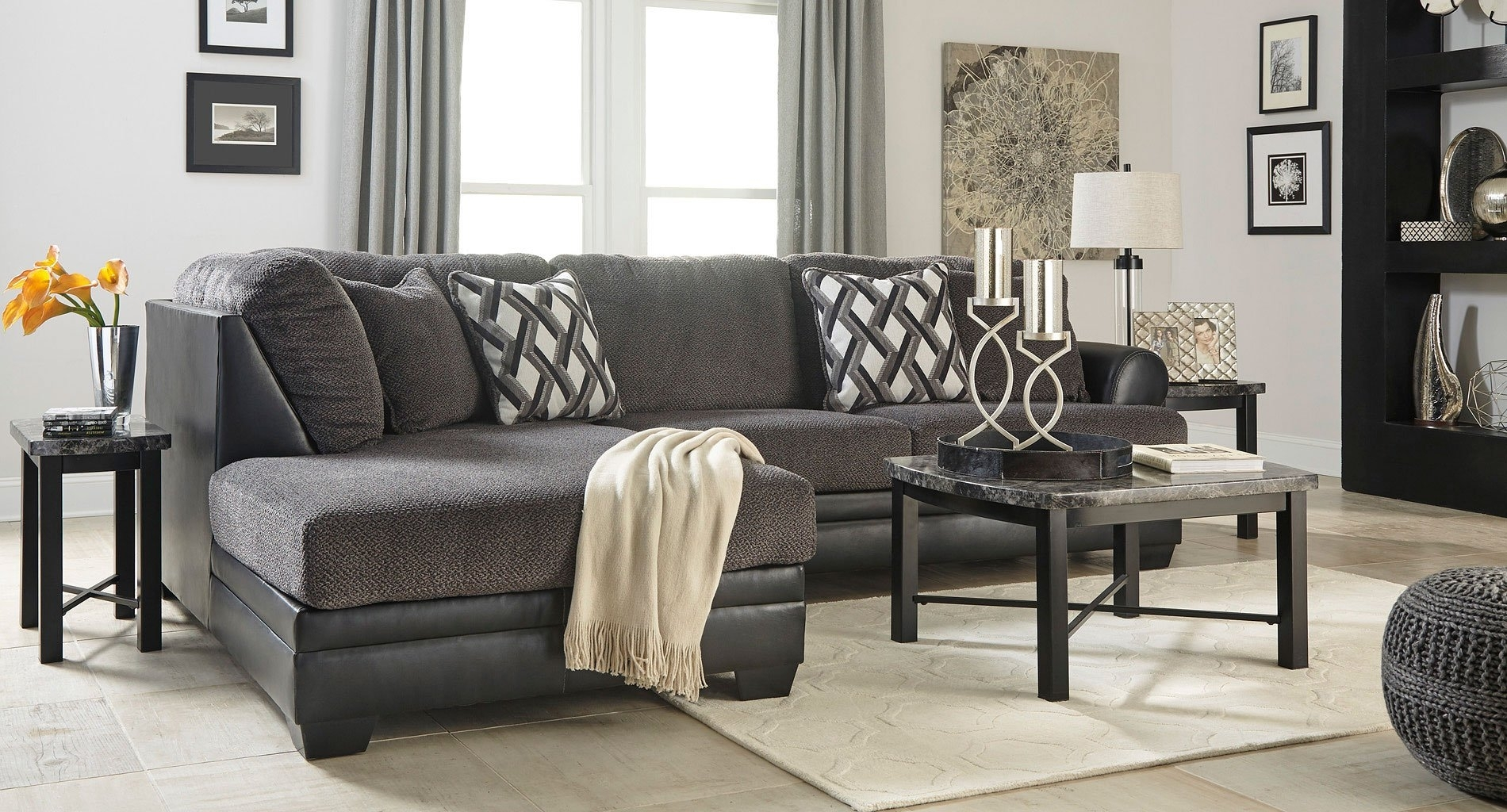 Kumasi Smoke Sectional Set - Living Room Furniture - Living inside Gordon 3 Piece Sectionals With Raf Chaise