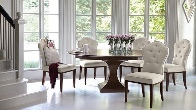 Kuolin Furniture Dining Room Tables | Bernhardt Furniture - Factory in Helms 5 Piece Round Dining Sets With Side Chairs