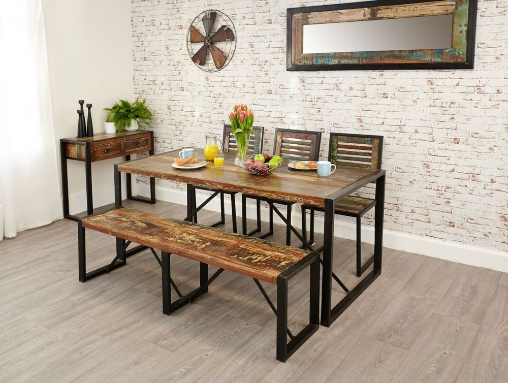 Kuredu Reclaimed Wood Furniture Dining Table Two Chairs Heavy Duty For Jaxon 6 Piece Rectangle Dining Sets With Bench & Wood Chairs (Image 16 of 25)
