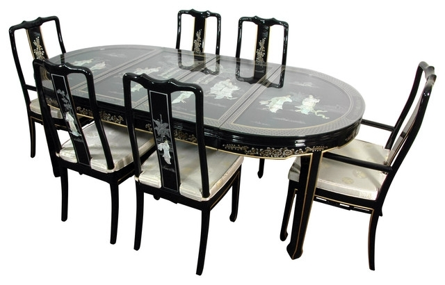 Lacquer 7 Piece Dining Room Set, Black Mother Of Pearl – Asian Throughout Asian Dining Tables (View 18 of 25)
