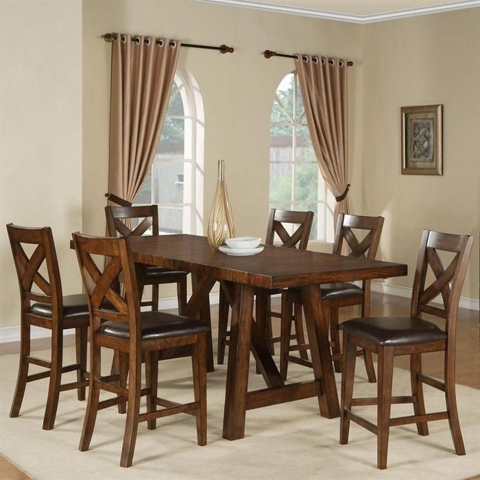 Lakeshore Table And 6 Stools In Burnished Mango | Nebraska Furniture Intended For Norwood 6 Piece Rectangular Extension Dining Sets With Upholstered Side Chairs (View 14 of 25)