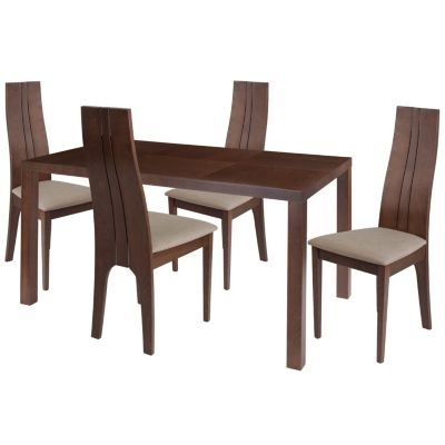 Lakeview 5 Piece Walnut Wood Dining Table Set With Padded Wood With Craftsman 5 Piece Round Dining Sets With Uph Side Chairs (Image 19 of 25)