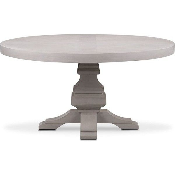 Lancaster Round Wood Top Table Water White ❤ Liked On Polyvore Regarding White Circular Dining Tables (Image 17 of 25)