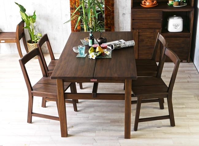 Landmark: 4 Person Dining Set For Dining 5 Point Set Teak Solid Wood Within Bali Dining Sets (Image 17 of 25)