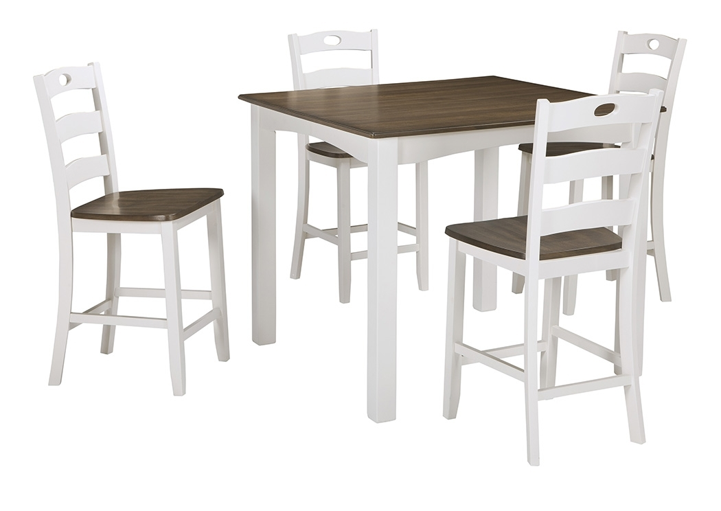 Landmark Home Furnishings – Houma, La Woodanville White/brown Square Regarding Jaxon 5 Piece Extension Counter Sets With Fabric Stools (Image 15 of 25)