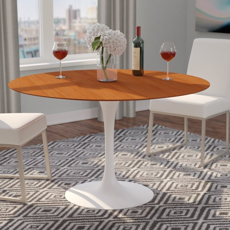 Langley Street Larkson Round Dining Table & Reviews   Wayfair Throughout Jefferson Extension Round Dining Tables (Image 17 of 25)