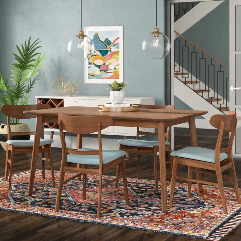Langley Street Yolanda 5 Piece Dining Set & Reviews | Wayfair With Regard To Laurent 7 Piece Rectangle Dining Sets With Wood Chairs (Image 15 of 25)