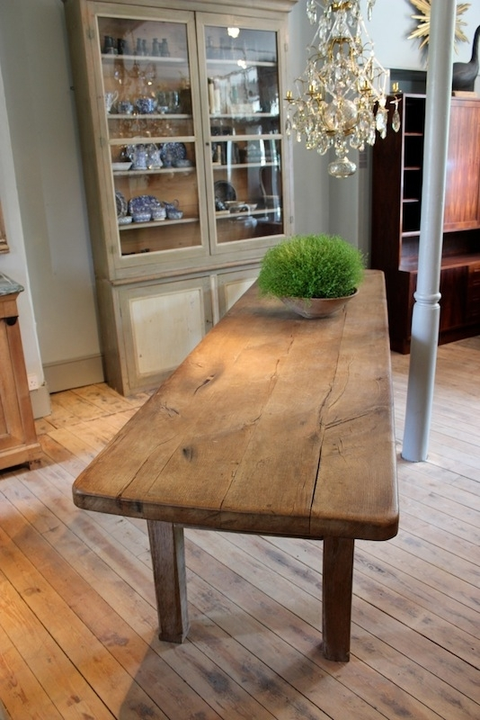 Large 18Th Cent French Oak Dining Table With Great Thick Top – Furniture In Cheap Oak Dining Tables (Image 10 of 25)