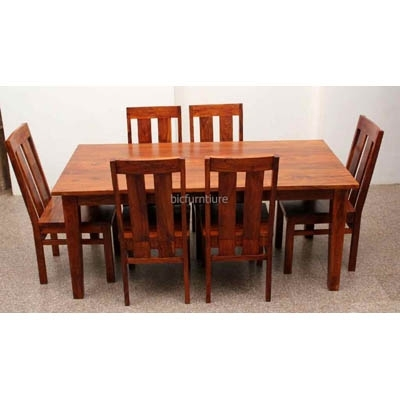 Large 6 Seater Wooden Dining Set In Sturdy Construction | Bic Throughout Six Seater Dining Tables (Image 17 of 25)