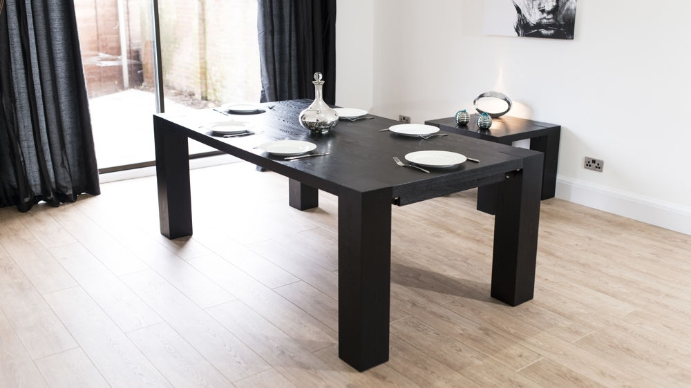 Large Black Ash Wooden Extending Dining Table | Coloured Dining Chairs Pertaining To Extending Black Dining Tables (Image 15 of 25)