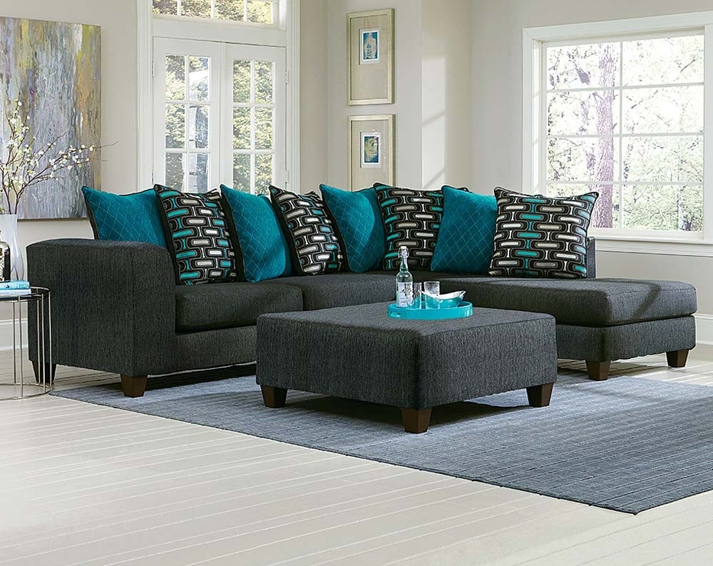 Large Black Two Toned 2 Piece Sectional Sofa | American Freight With Norfolk Grey 6 Piece Sectionals With Laf Chaise (Image 9 of 25)