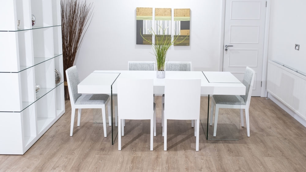Large Chunky Modern White Oak Dining Set | Glass Legs | Seats 6 8 Intended For Oak And Glass Dining Tables Sets (Image 13 of 25)