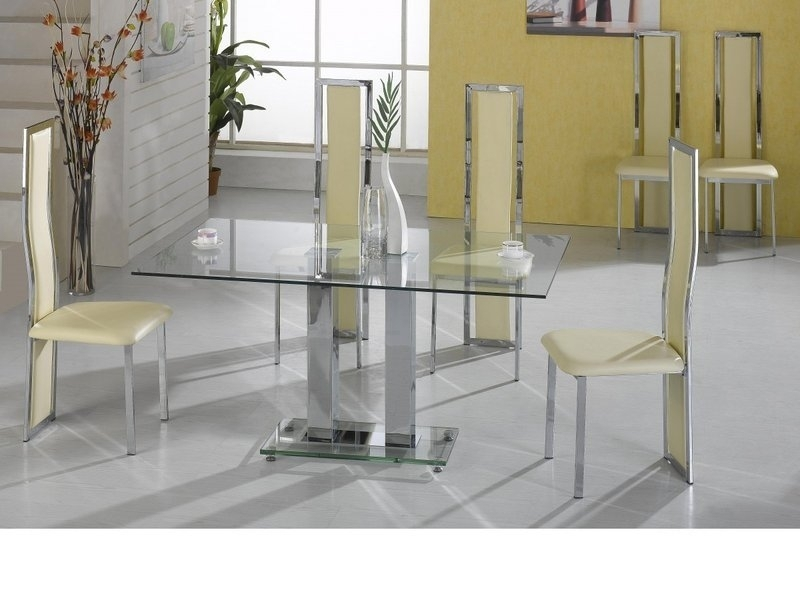 Large Clear Glass Dining Table And 6 Cream Chairs – Homegenies Within Clear Glass Dining Tables And Chairs (Image 14 of 25)