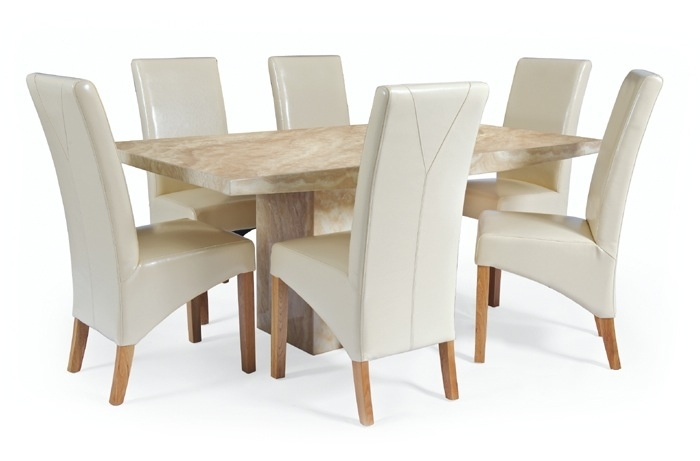 Large Crema Marble Dining Set With 6 Cream Leather Chairs | Thomas In Cream Dining Tables And Chairs (View 7 of 25)